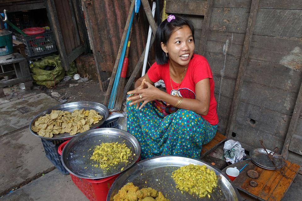 Food seller in Yangon, Myanmar