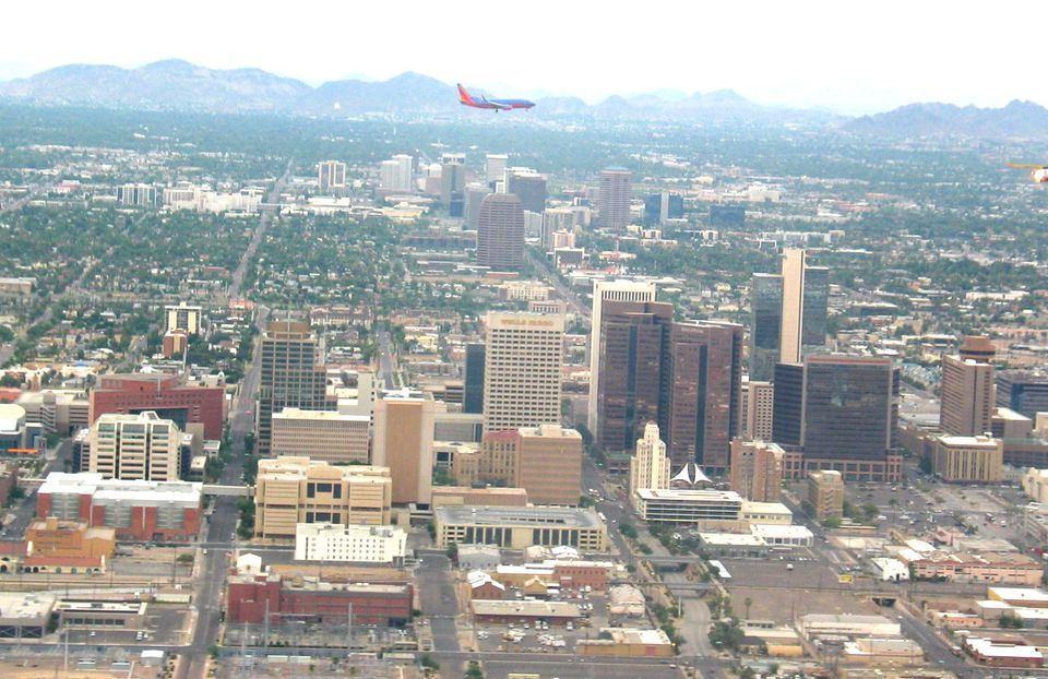 Southwest Airlines landing over Phoenix