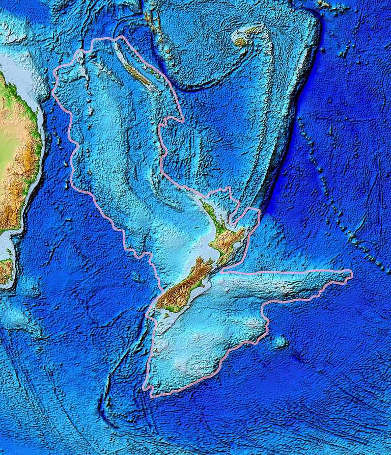The topography of Zealandia.