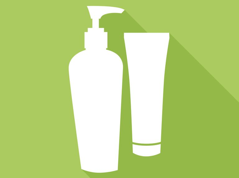lotion bottles icon, white on a green background