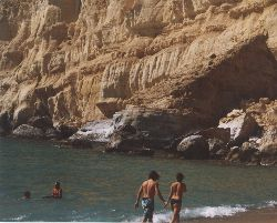 The cliffs at Red Beach offer a haven to nude sunbathers.
