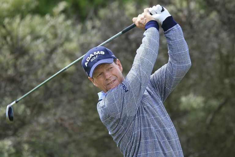 Tom Watson swings during the 2007 Senior Open Championship