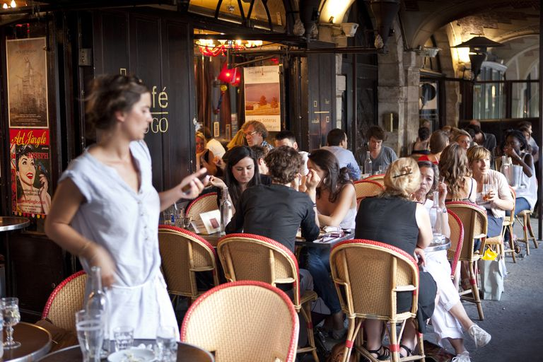 people eating in French restaurant