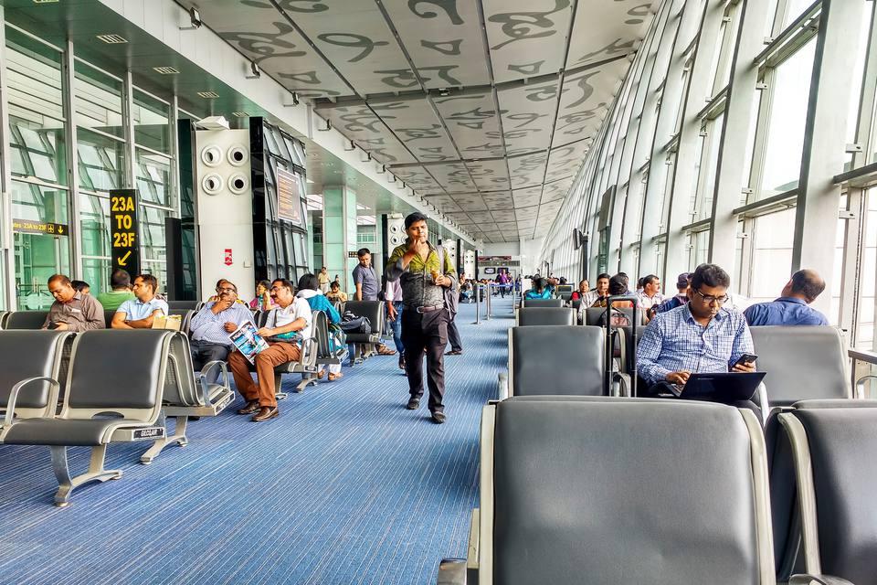 Passengers at Kolkata airport, India