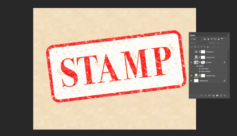 Screenshot of a stamp effect in Adobe Photoshop