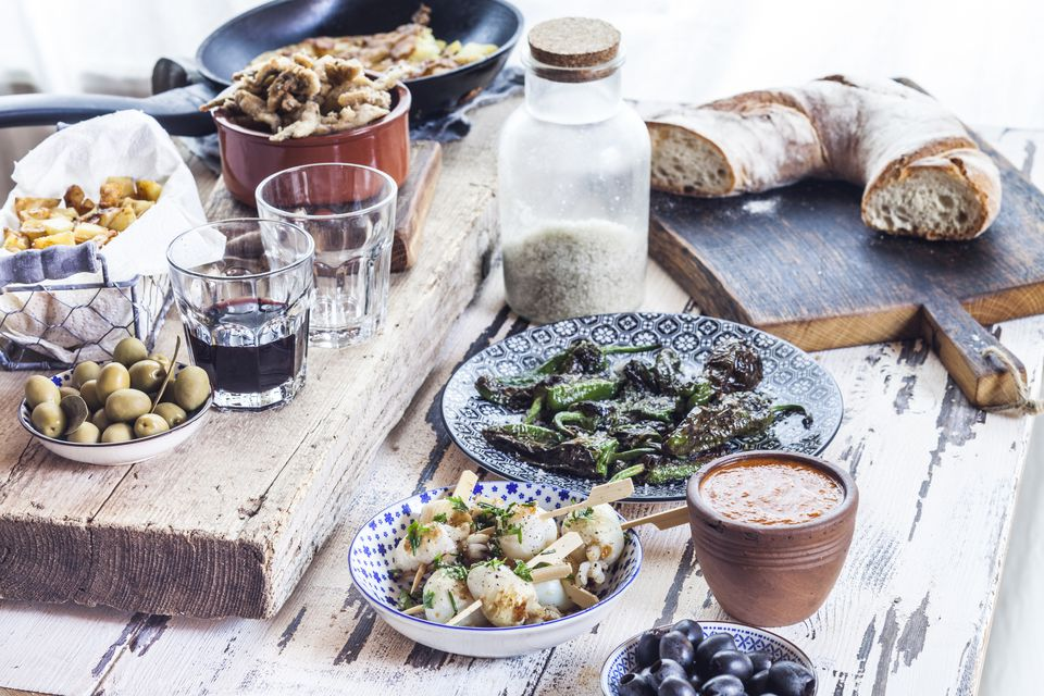 Full Spanish brunch spread