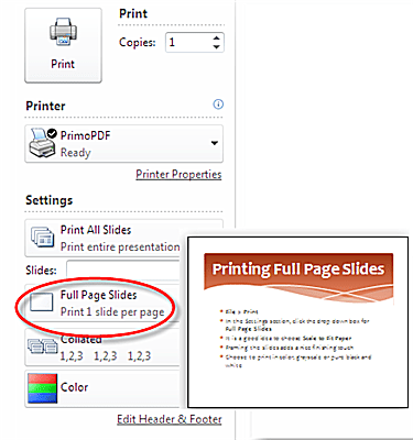 Print Full Page Slides In PowerPoint 2010