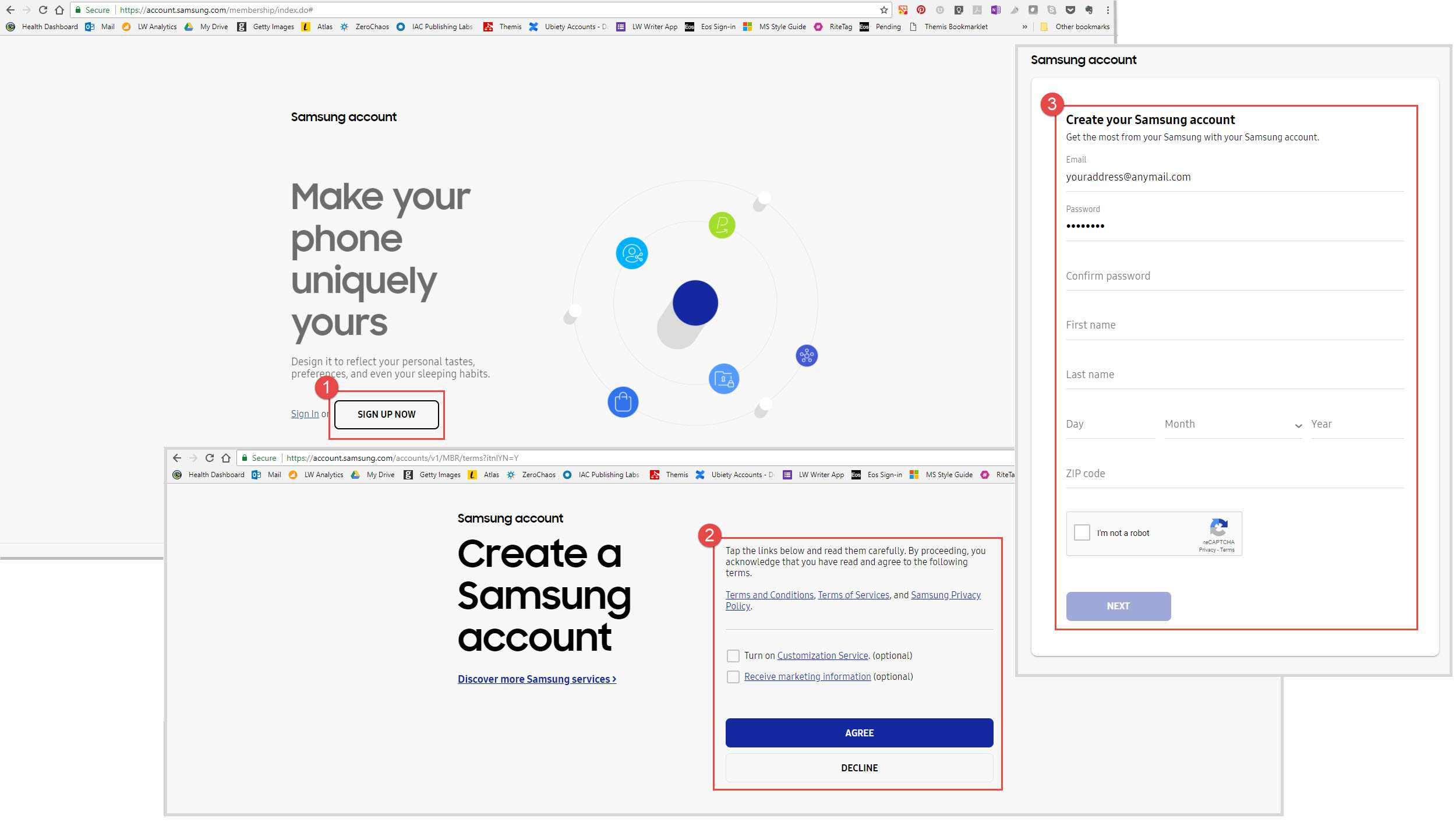 Screenshots of the steps required to create a Samsung Account on a computer or laptop.