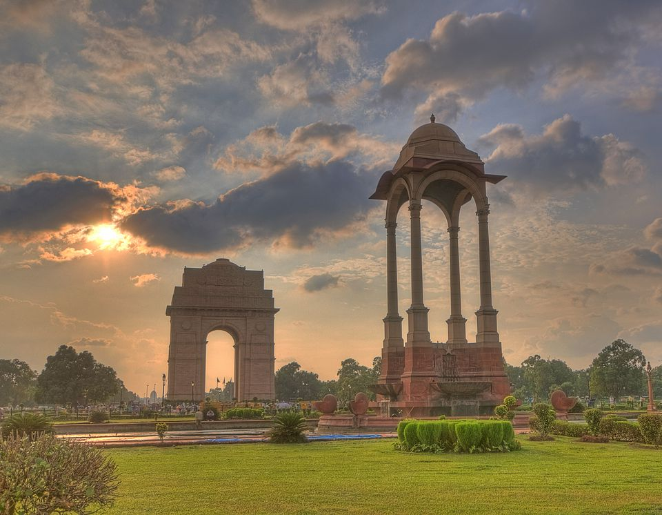India Gate and canopy at sunset