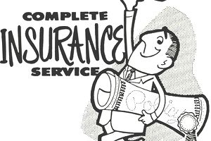 Cartoon image of insurance agent holding a rolled up policy