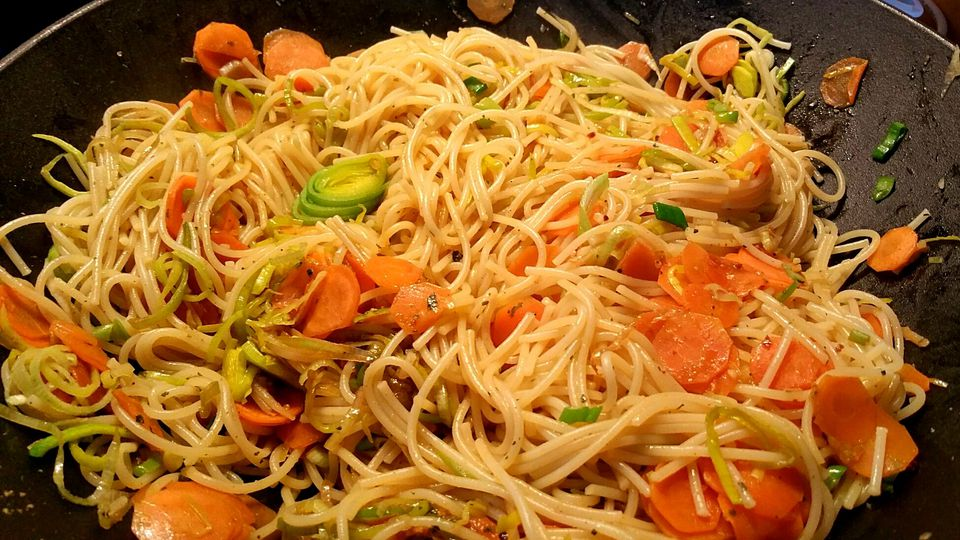 Close-Up Of Chinese Food In Cooking Pan