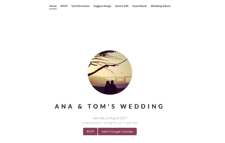 an online wedding invitation with a photo and wedding details - Wedding Invitation Online