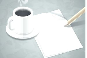 Coffee and pad of paper