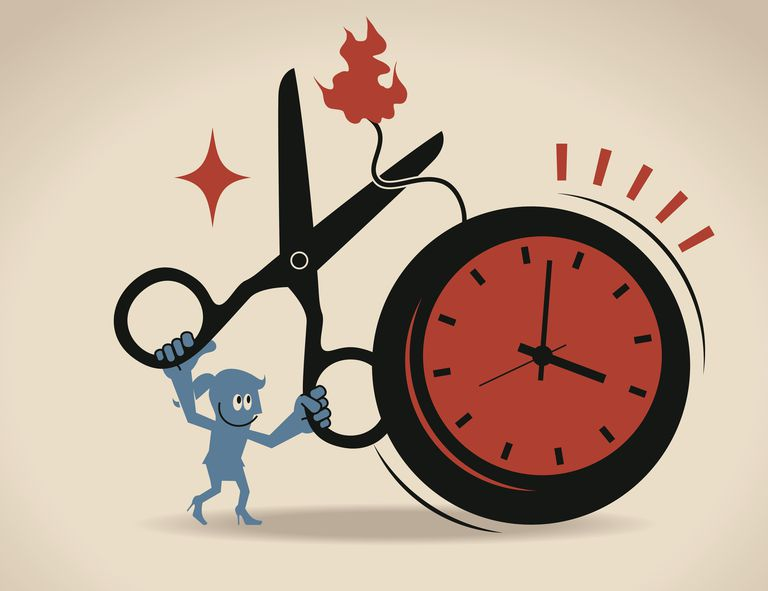 Image of a female character holding scissors and cutting a fuse to a clock