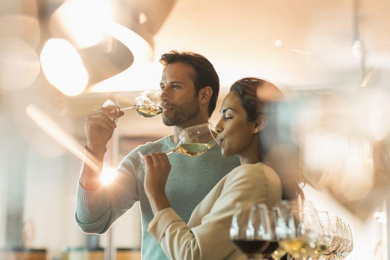couple tasting wine