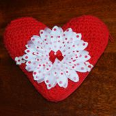 Crocheted Valentine Heart Pouch Embellished With Pretty Flowers and Bow