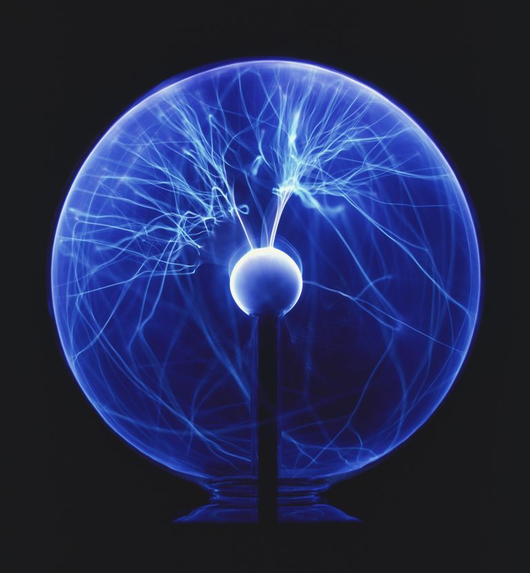 Blue glass globe filled with bright plasma lines.