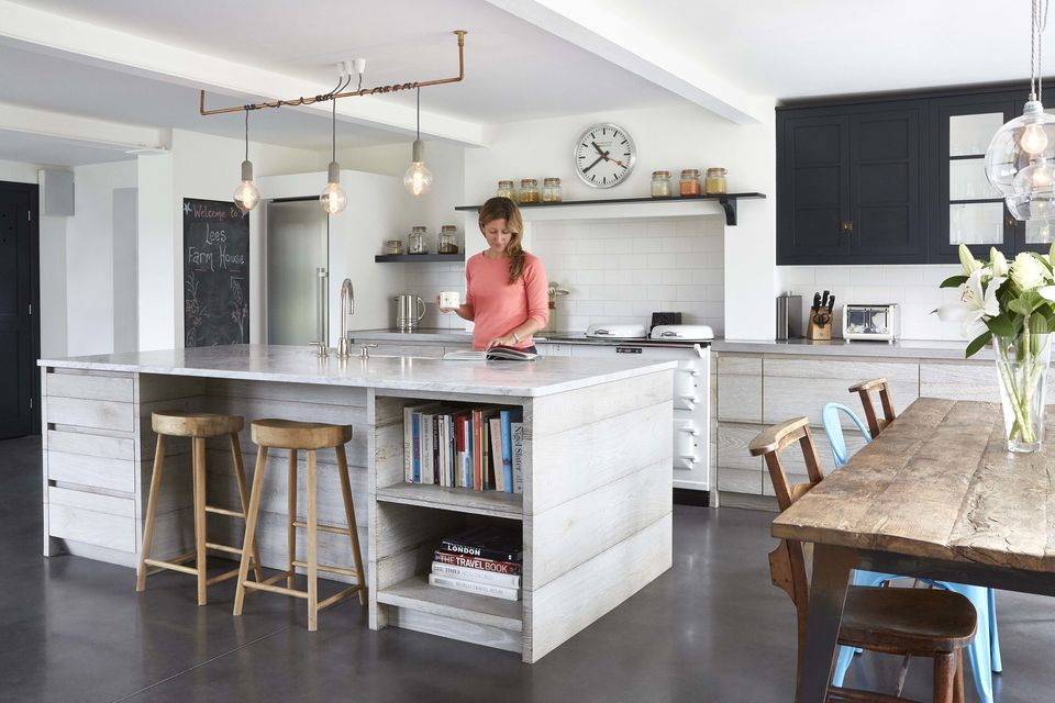 White Wood And Red Farmhouse Kitchen