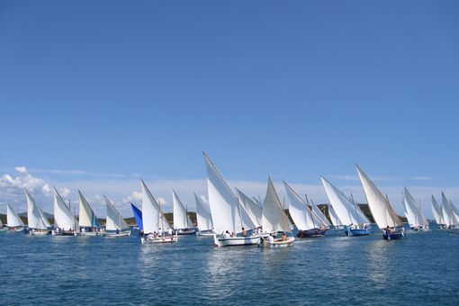 Sailboats Sailing In Sea Against Clear Blue Sky
