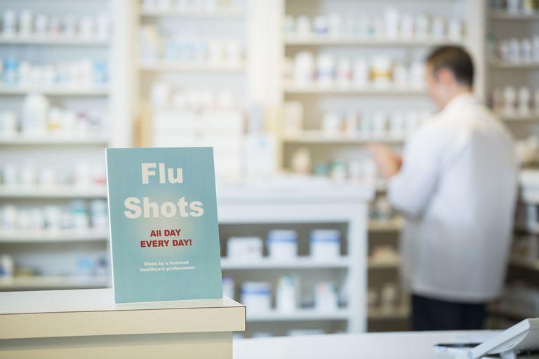Flu shots sign in pharmacy
