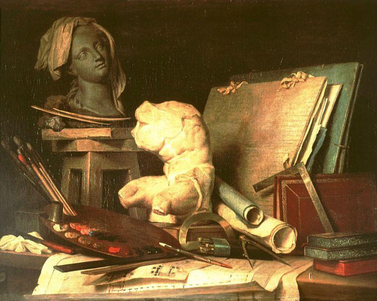 'Atributos de la pintura, la escultura y la arquitectura' de Anne Vallayer-Coster