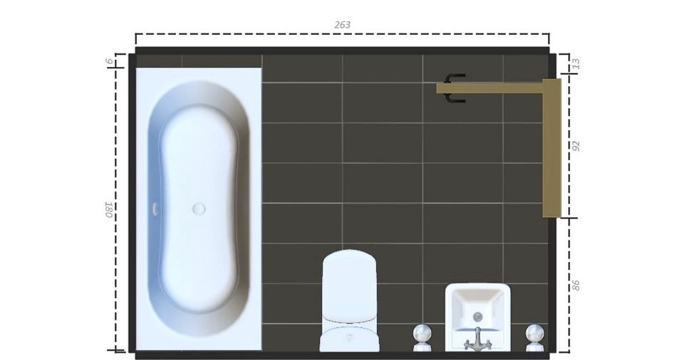 15 free sample bathroom floor plans small to large for Small bathroom layout with tub