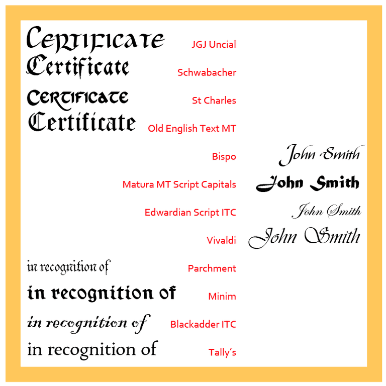 Choose these traditional fonts for your certificates for Calligraphy certificate templates