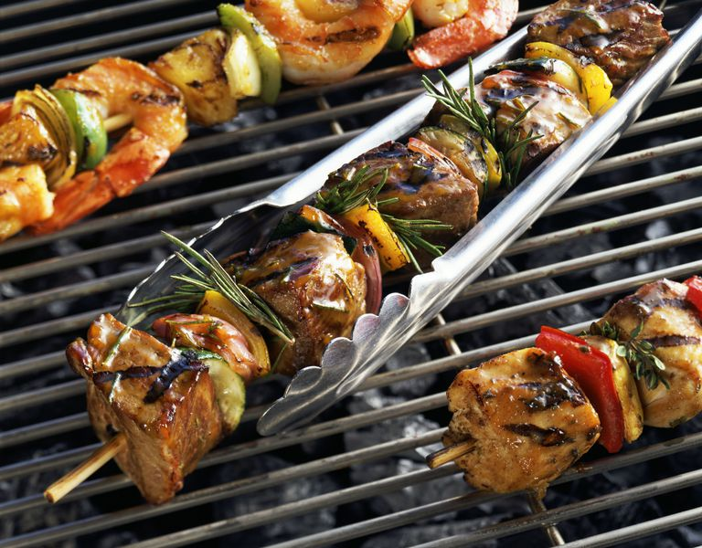 Variety of grilled shish kebabs
