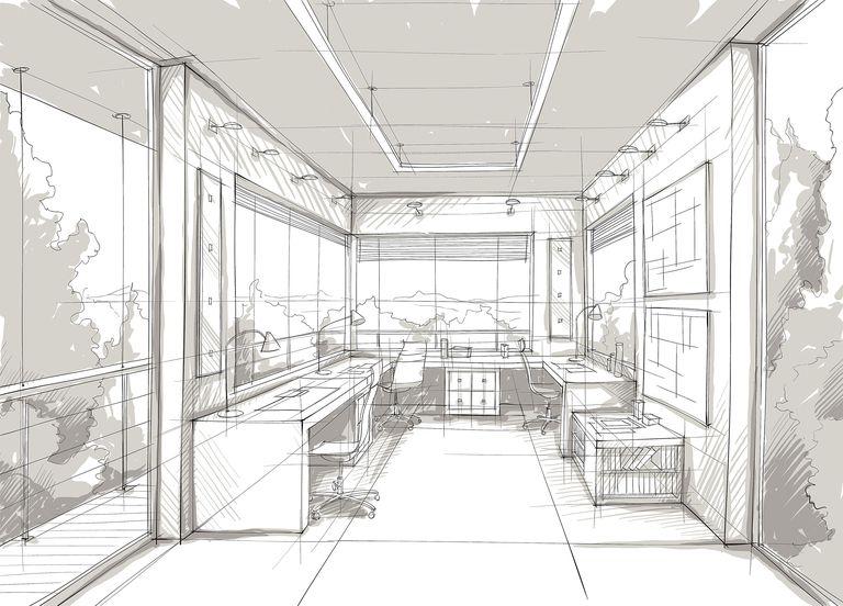 Interior design rendering sketch