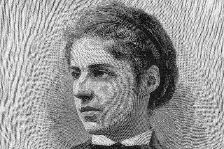 Engraved portrait of poet Emma Lazarus