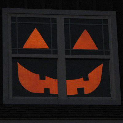 A picture of a Halloween window decoration