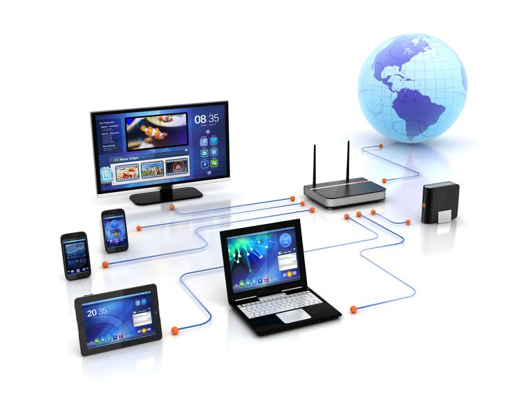 A screen shot showing a laptop, tablet computer, desktop computer, wireless router, and two phones connected to the World Wide Web.