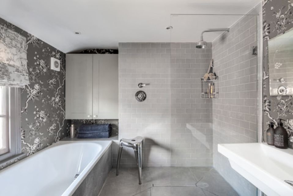 All Gray Feminine Master Bathroom