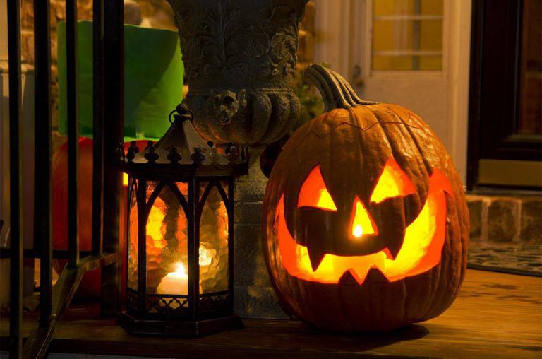 A Big toothy, grinning Jack O' Lantern pumpkin