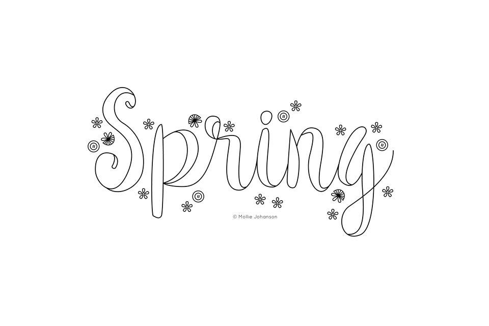 Spring Embroidery Pattern Outline