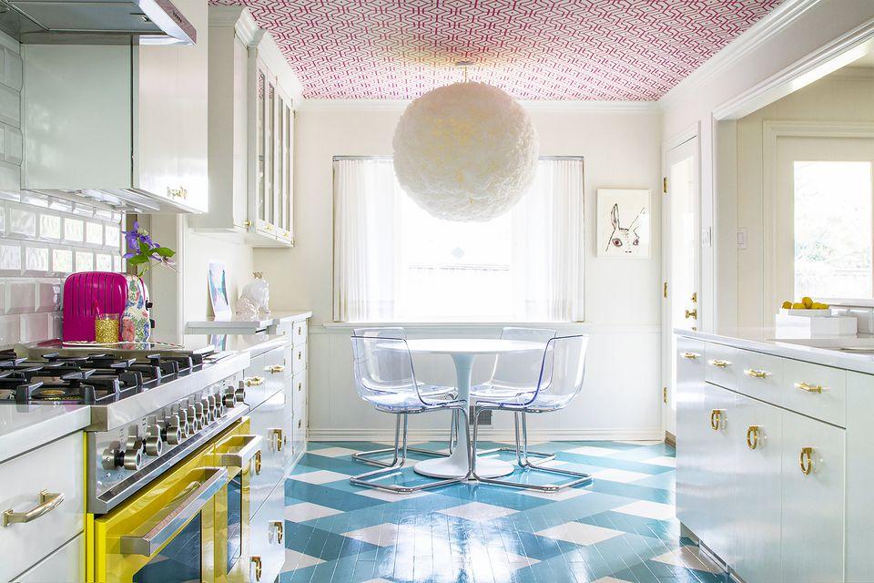 wallpaper ceiling in kitchen