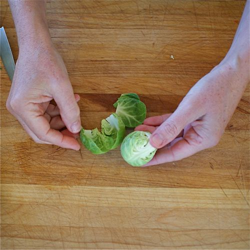 Removing External Leaves from Brussels Sprouts