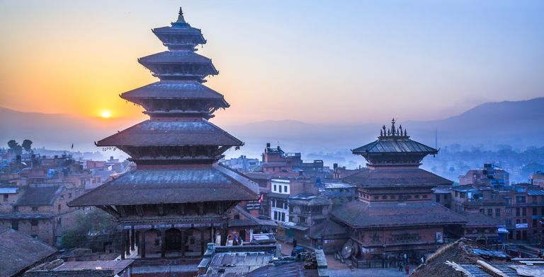 Dawn light over ancient temples in Bhaktapur, UNESCO World Heritage Site on the eastern corner of the Kathmandu Valley, Bagmati, Nepal.