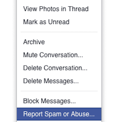 How to find and delete your facebook message history reporting spam is easy in facebook messages ccuart Choice Image