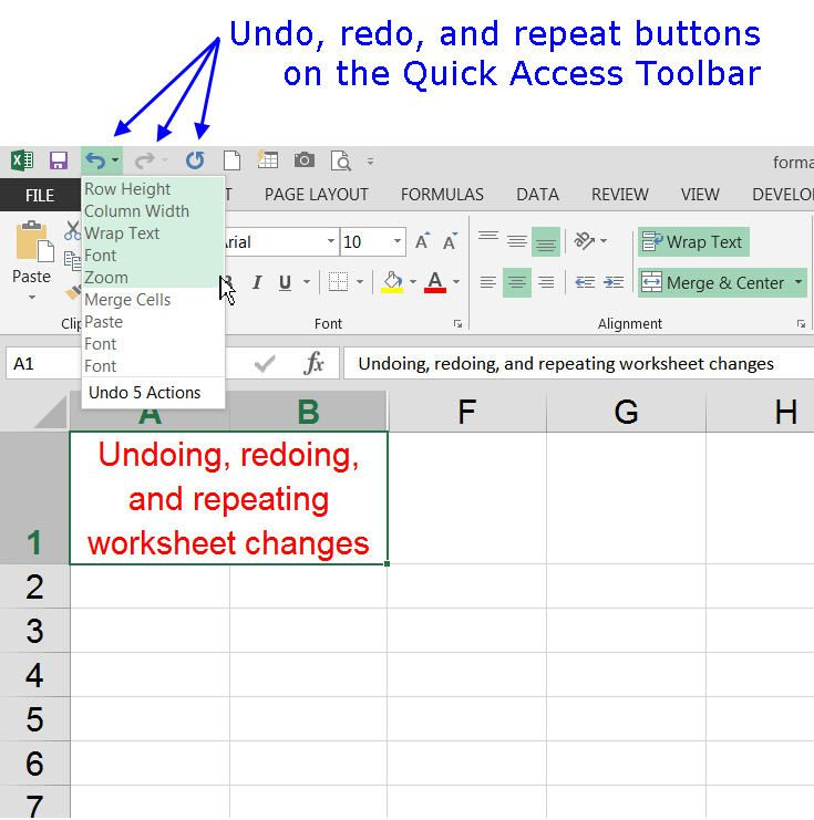 Undo and Redo Options on the Quick Access Toolbar in Excel