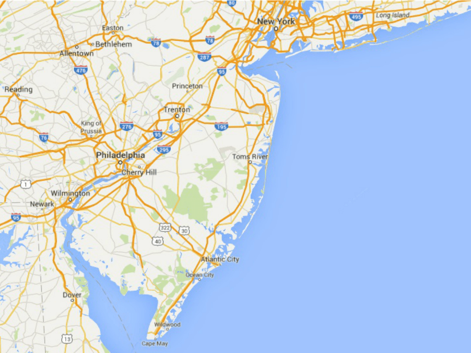 Map of New Jersey Shore