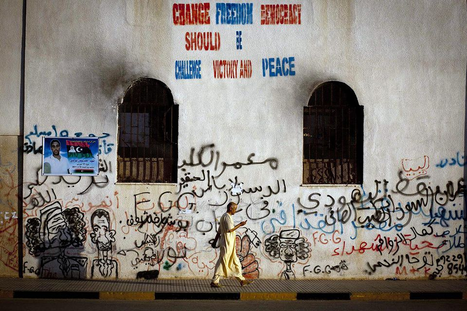Graffiti Depicts Muammar Gaddafi Demise In Libya