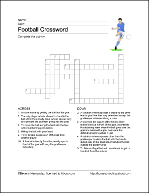 Football Word Search, Vocabulary Work Sheet, Crossword ...