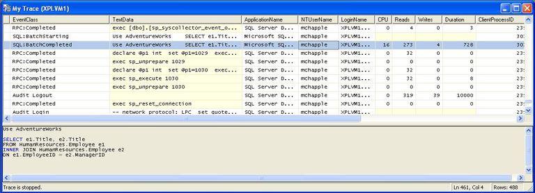 SQL Server Profiler Trace