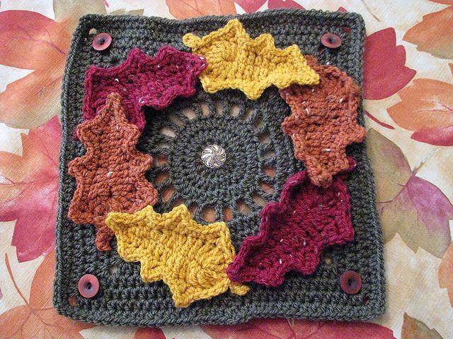 Fall Wreath Crochet Square FREE Pattern