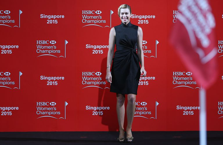 Paula Creamer takes part in a fashion show prior to the 2015 HSBC Champions in Singapore