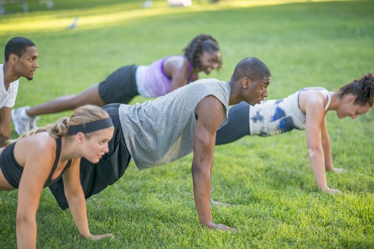 Group workout in the park