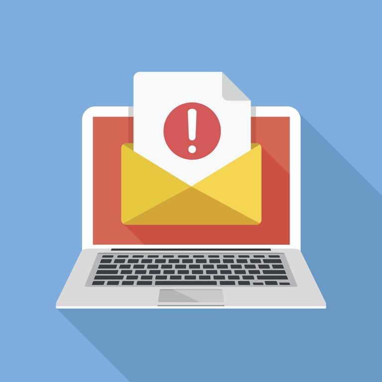 Laptop with envelope and document with exclamation mark on screen. Receive notification, alert message, warning, get e-mail, email, spam concepts. Flat design vector illustration