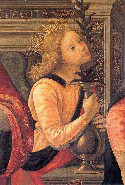 Madonna y niño en trono entre ángeles y santos
