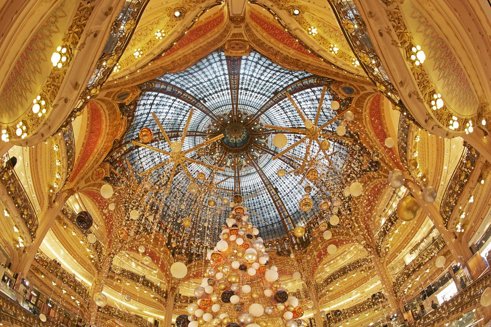 Festive ceiling of Galeries Lafayette at Christmas